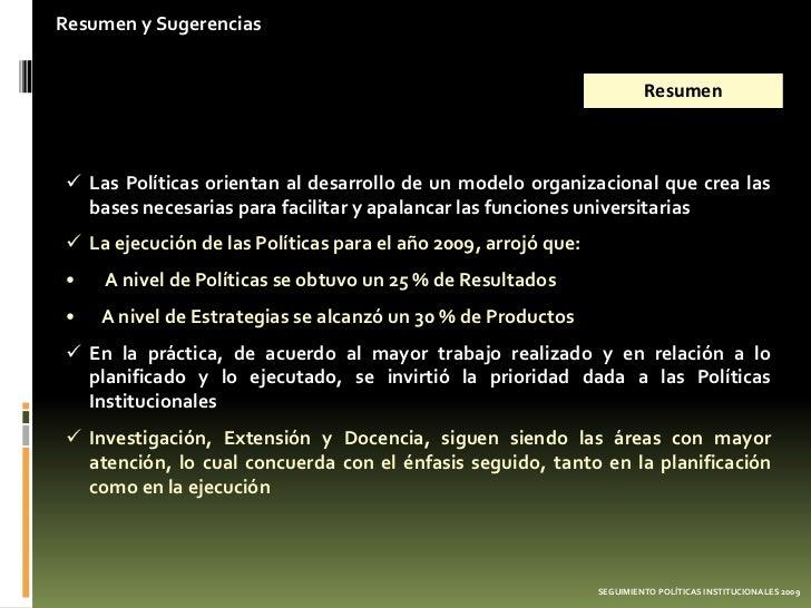 Resumen y Sugerencias                                                                         Resumen Las Políticas orien...