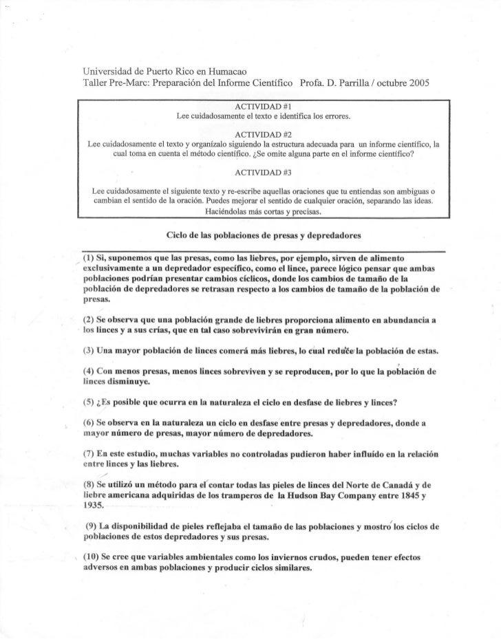 Universidad de Puerto Rico en Humacao Taller Pre-Marc: Preparaci6n dellnforme            Cientifico     Profa. D. Parrilla...