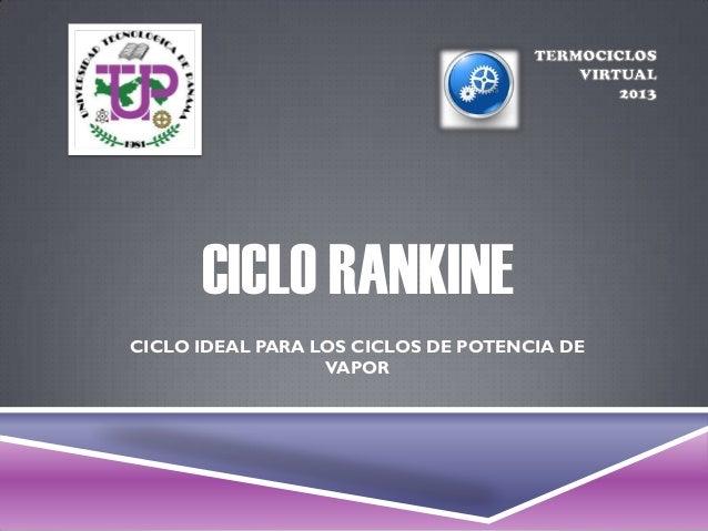 CICLO RANKINECICLO IDEAL PARA LOS CICLOS DE POTENCIA DE                  VAPOR