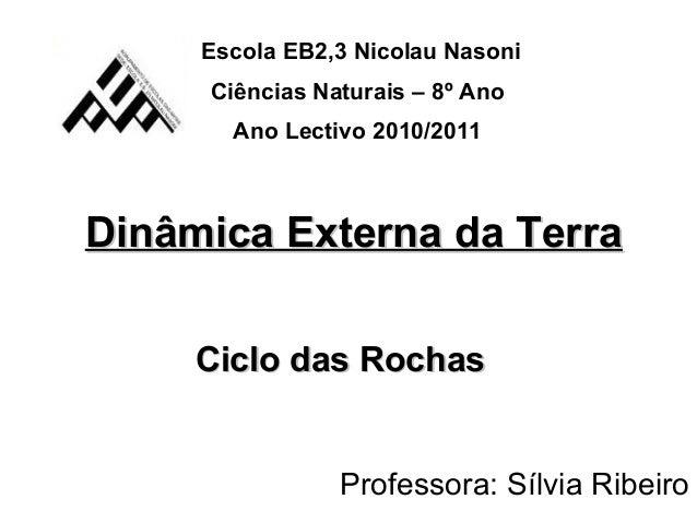 Dinâmica Externa da TerraDinâmica Externa da Terra Ciclo das RochasCiclo das Rochas Escola EB2,3 Nicolau Nasoni Ciências N...
