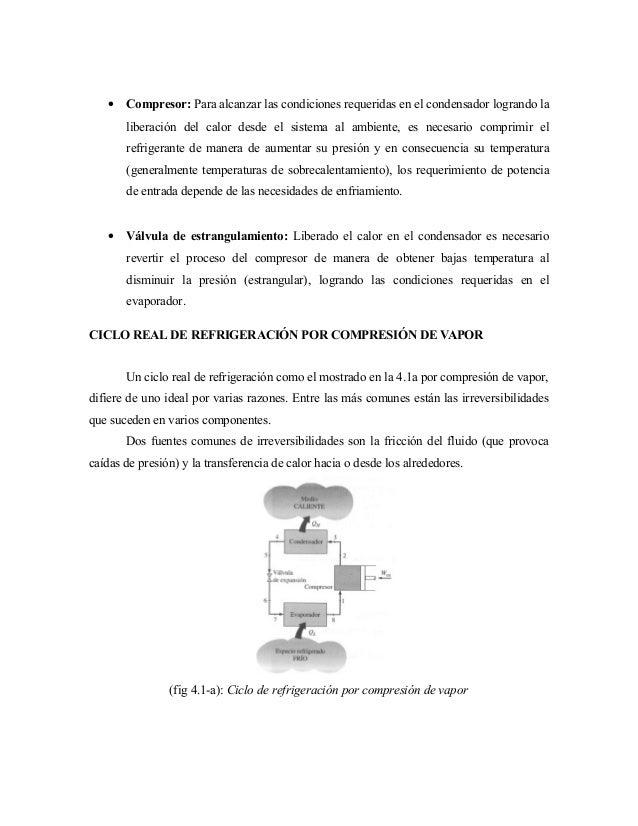 • Compresor: Para alcanzar las condiciones requeridas en el condensador logrando la liberación del calor desde el sistema ...