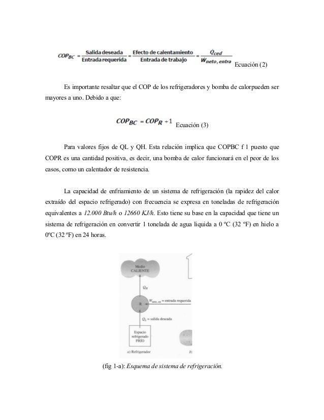Ecuación (2) Es importante resaltar que el COP de los refrigeradores y bomba de calorpueden ser mayores a uno. Debido a qu...