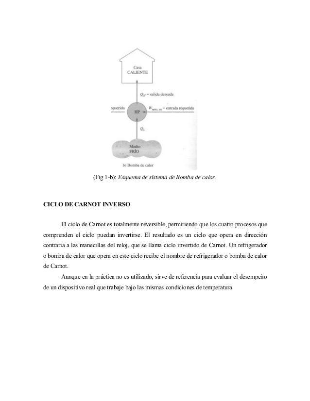 (Fig 1-b): Esquema de sistema de Bomba de calor. CICLO DE CARNOT INVERSO El ciclo de Carnot es totalmente reversible, perm...