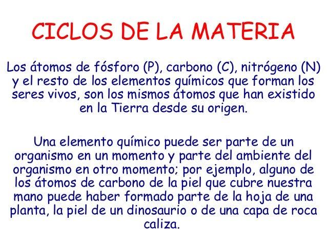 CICLOS DE LA MATERIALos átomos de fósforo (P), carbono (C), nitrógeno (N) y el resto de los elementos químicos que forman ...