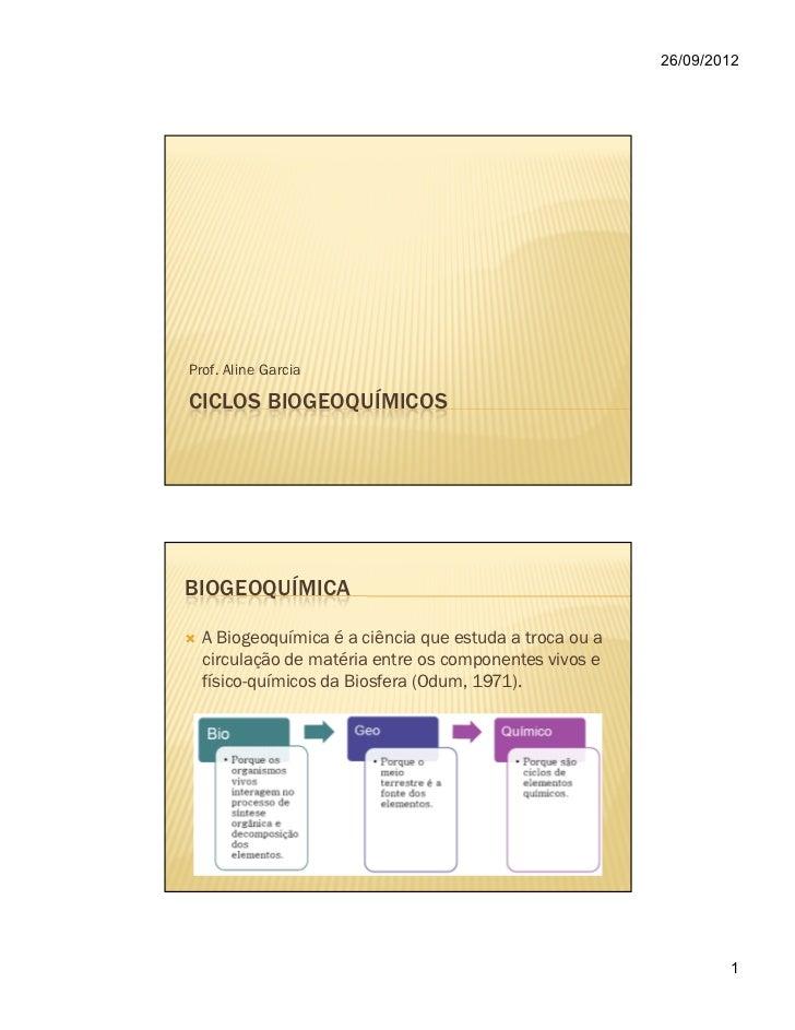 26/09/2012Prof. Aline GarciaCICLOS BIOGEOQUÍMICOSBIOGEOQUÍMICA  A Biogeoquímica é a ciência que estuda a troca ou a  circu...