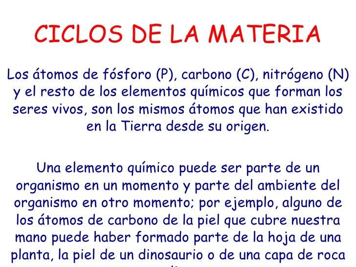 CICLOS DE LA MATERIA Los átomos de fósforo (P), carbono (C), nitrógeno (N) y el resto de los elementos químicos que forman...