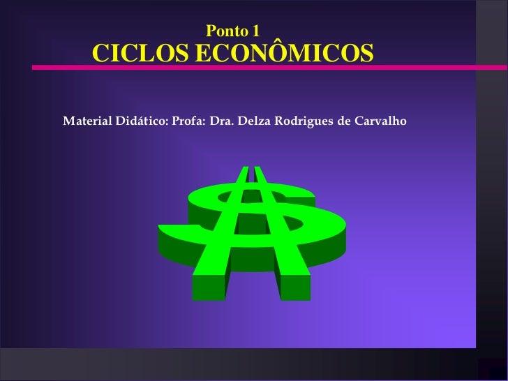 Ponto 1    CICLOS ECONÔMICOSMaterial Didático: Profa: Dra. Delza Rodrigues de Carvalho