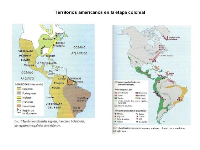 Territorios americanos en la etapa colonial