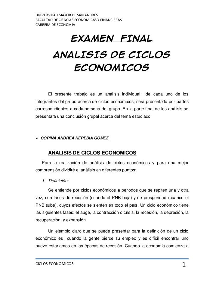 UNIVERSIDAD MAYOR DE SAN ANDRESFACULTAD DE CIENCIAS ECONOMICAS Y FINANCIERASCARRERA DE ECONOMIA                    EXAMEN ...