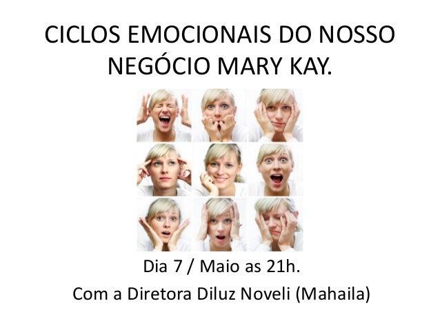 CICLOS EMOCIONAIS DO NOSSO NEGÓCIO MARY KAY. Dia 7 / Maio as 21h. Com a Diretora Diluz Noveli (Mahaila)