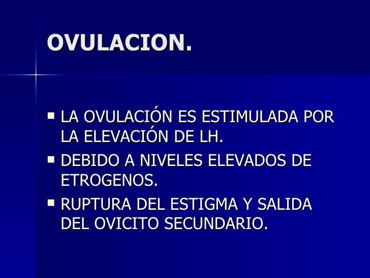 OVULACION. <ul><li>LA OVULACIÓN ES ESTIMULADA POR LA ELEVACIÓN DE LH. </li></ul><ul><li>DEBIDO A NIVELES ELEVADOS DE ETROG...