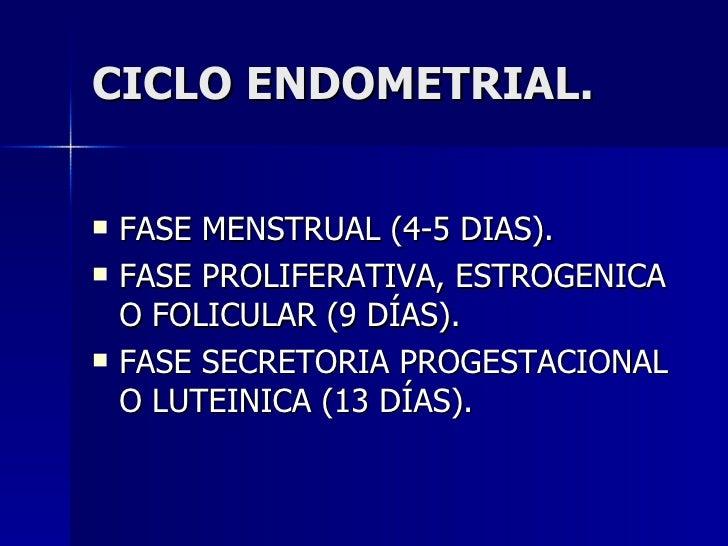 CICLO ENDOMETRIAL. <ul><li>FASE MENSTRUAL (4-5 DIAS). </li></ul><ul><li>FASE PROLIFERATIVA, ESTROGENICA O FOLICULAR (9 DÍA...