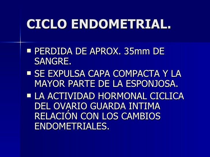 CICLO ENDOMETRIAL. <ul><li>PERDIDA DE APROX. 35mm DE SANGRE. </li></ul><ul><li>SE EXPULSA CAPA COMPACTA Y LA MAYOR PARTE D...