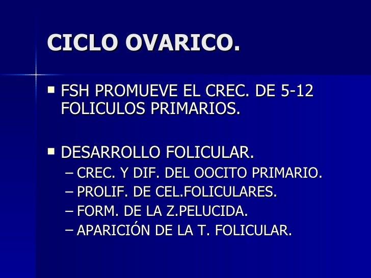 CICLO OVARICO. <ul><li>FSH PROMUEVE EL CREC. DE 5-12 FOLICULOS PRIMARIOS. </li></ul><ul><li>DESARROLLO FOLICULAR. </li></u...