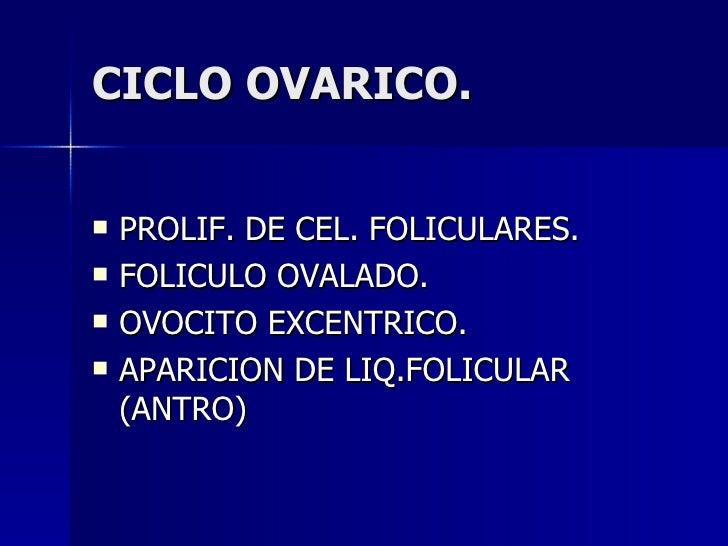 CICLO OVARICO. <ul><li>PROLIF. DE CEL. FOLICULARES. </li></ul><ul><li>FOLICULO OVALADO. </li></ul><ul><li>OVOCITO EXCENTRI...