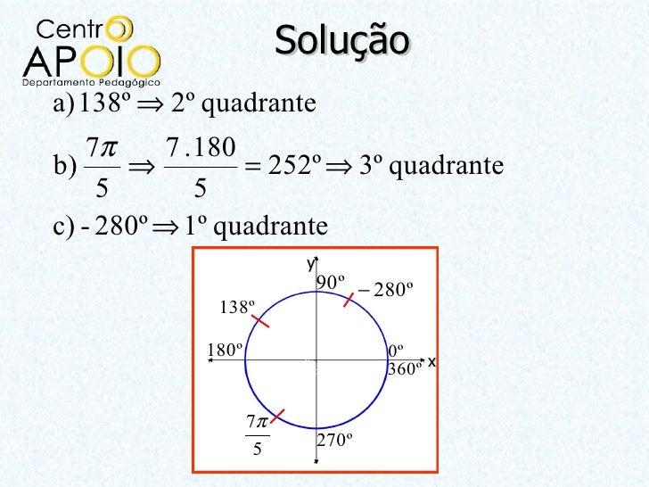 Soluçãoa) 138º ⇒ 2º quadrante   7π     7 .180b)     ⇒         = 252º ⇒ 3º quadrante     5       5c) - 280º ⇒ 1º quadrante ...