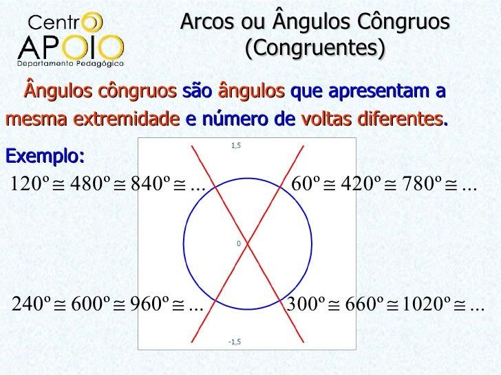 Arcos ou Ângulos Côngruos                           (Congruentes) Ângulos côngruos são ângulos que apresentam amesma extre...