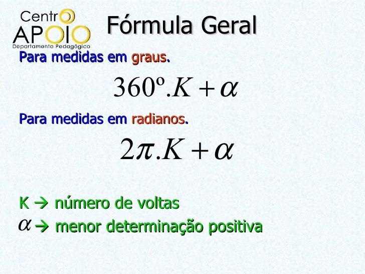 Fórmula GeralPara medidas em graus.             360º.K + αPara medidas em radianos.              2π .K + αK  número de vo...