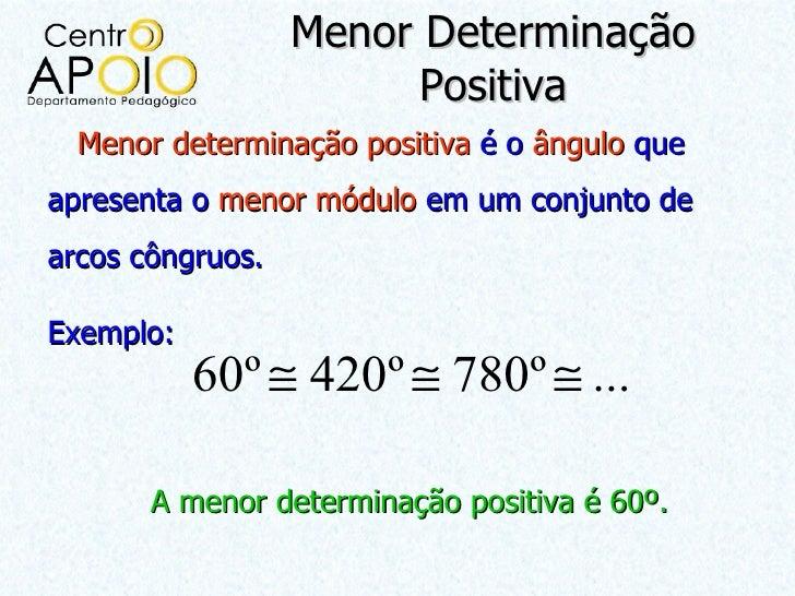 Menor Determinação                       Positiva  Menor determinação positiva é o ângulo queapresenta o menor módulo em u...