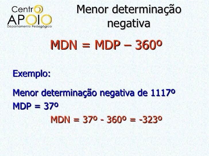 Menor determinação                   negativa        MDN = MDP – 360ºExemplo:Menor determinação negativa de 1117ºMDP = 37º...