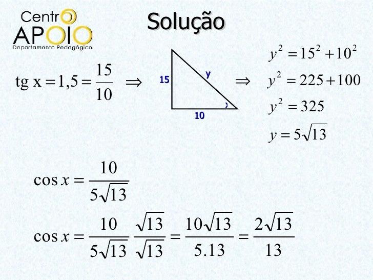 Solução                                           y = 15 + 10                                            2     2      2   ...