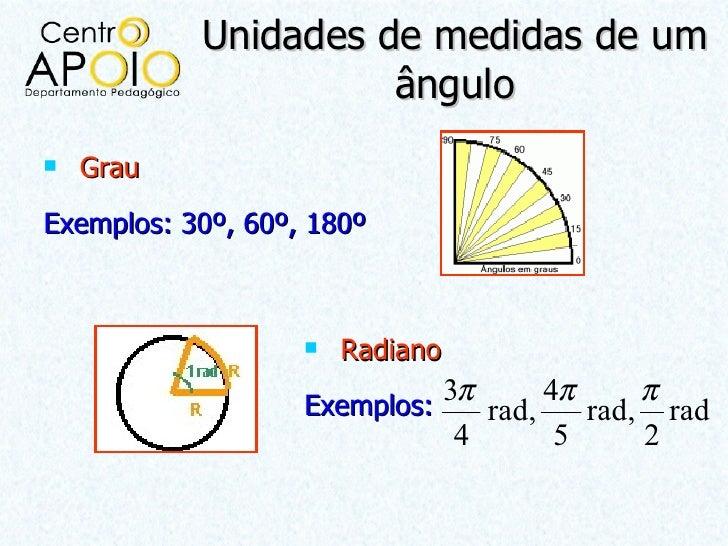Unidades de medidas de um                     ângulo   GrauExemplos: 30º, 60º, 180º                      Radiano        ...