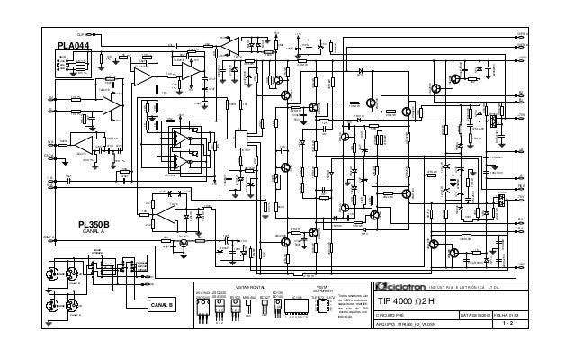 FOLHA: 01/03 VISTA TLE2072, TL072 TIP 4000 2 H BC327 BD139 BD140 Todos resistores são de 1/4W e todos os capacitores eletr...