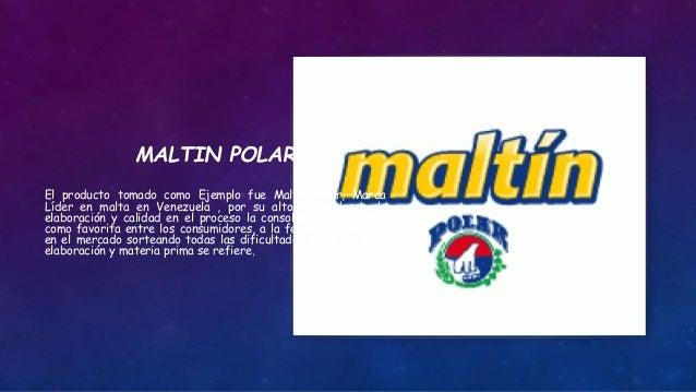 MALTIN POLAR El producto tomado como Ejemplo fue Maltin Polar, Marca Líder en malta en Venezuela , por su altos estándares...