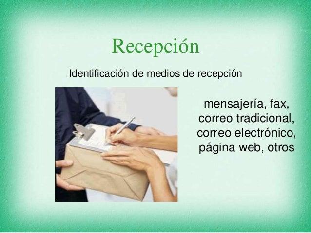 Recepción Identificación de medios de recepción mensajería, fax, correo tradicional, correo electrónico, página web, otros