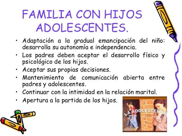 FAMILIA CON HIJOS ADOLESCENTES. • Adaptación a la gradual emancipación del niño: desarrolla su autonomía e independencia. ...