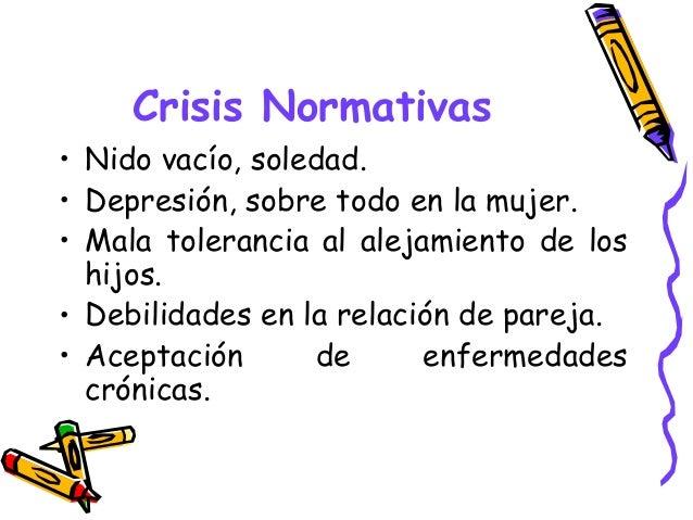 Crisis Normativas • Nido vacío, soledad. • Depresión, sobre todo en la mujer. • Mala tolerancia al alejamiento de los hijo...