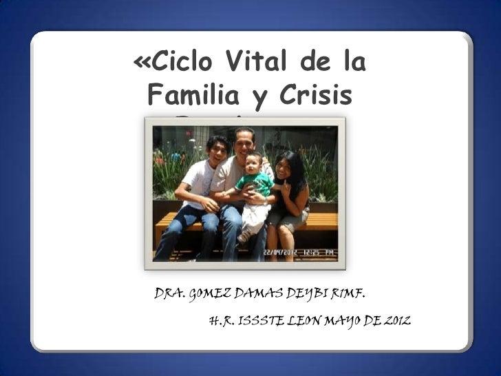 «Ciclo Vital de la Familia y Crisis   Familiares» DRA. GOMEZ DAMAS DEYBI R1MF.        H.R. ISSSTE LEON MAYO DE 2012