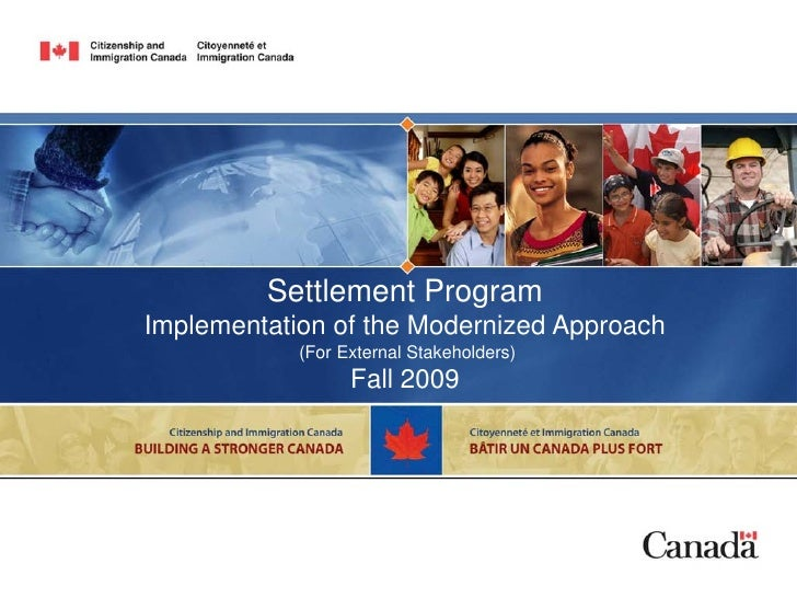 Settlement Program Implementation of the Modernized Approach             (For External Stakeholders)                   Fal...