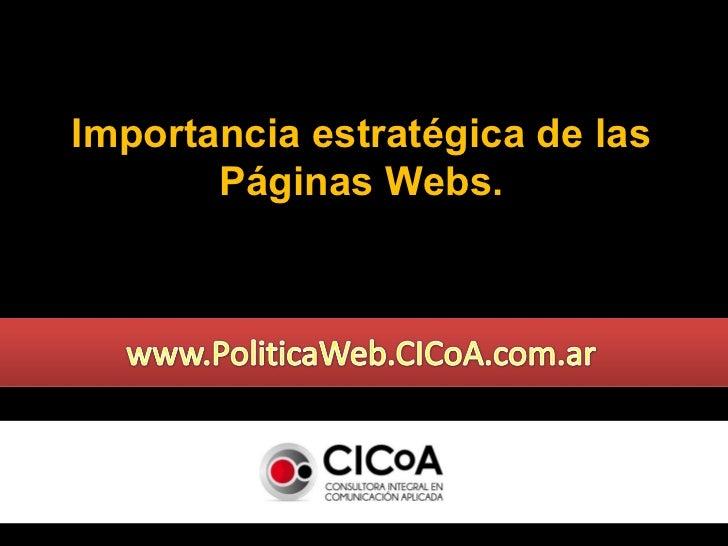 Importancia estratégica de las Páginas Webs.