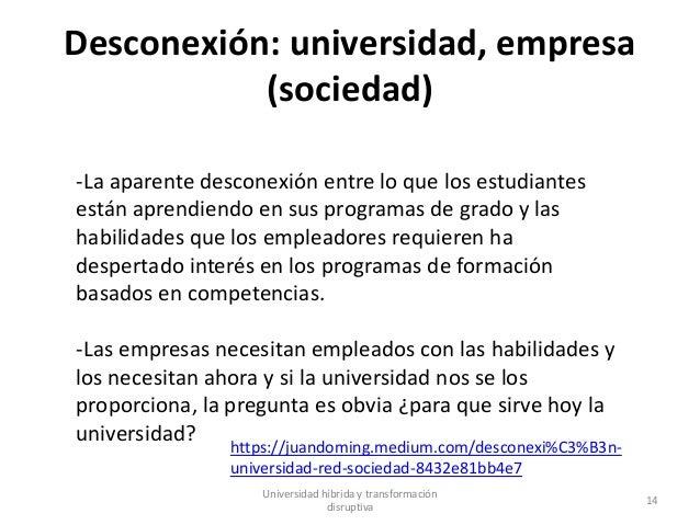 Desconexión: universidad, empresa (sociedad) Universidad híbrida y transformación disruptiva 14 -La aparente desconexión e...
