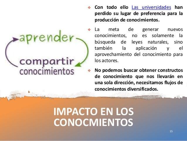 IMPACTO EN LOS CONOCMIENTOS  Con todo ello Las universidades han perdido su lugar de preferencia para la producción de co...
