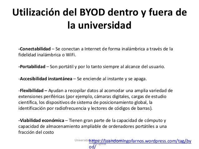 Utilización del BYOD dentro y fuera de la universidad Universidad híbrida y transformación disruptiva 21 -Conectabilidad –...