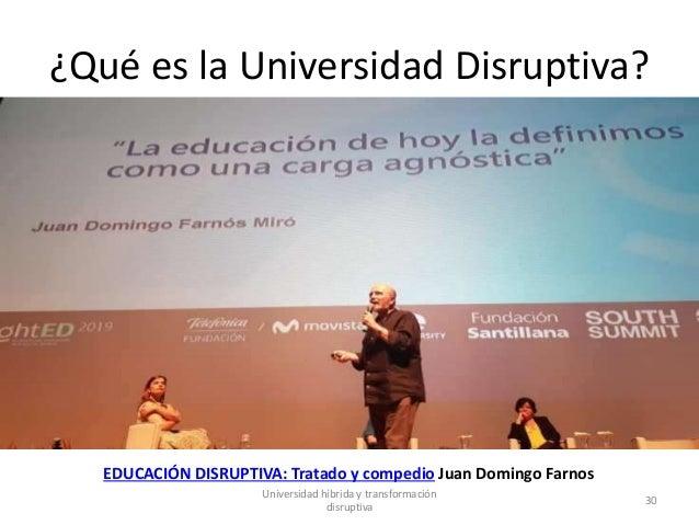 ¿Qué es la Universidad Disruptiva? EDUCACIÓN DISRUPTIVA: Tratado y compedio Juan Domingo Farnos Universidad híbrida y tran...