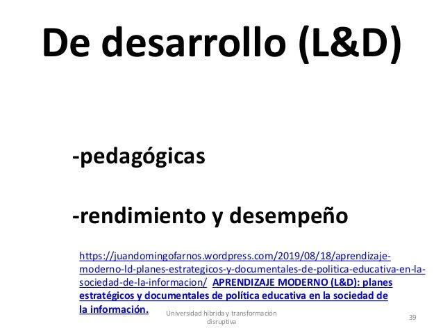 De desarrollo (L&D) -pedagógicas -rendimiento y desempeño https://juandomingofarnos.wordpress.com/2019/08/18/aprendizaje- ...