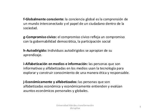 Universidad híbrida y transformación disruptiva 4 f-Globalmente consciente: la conciencia global es la comprensión de un m...