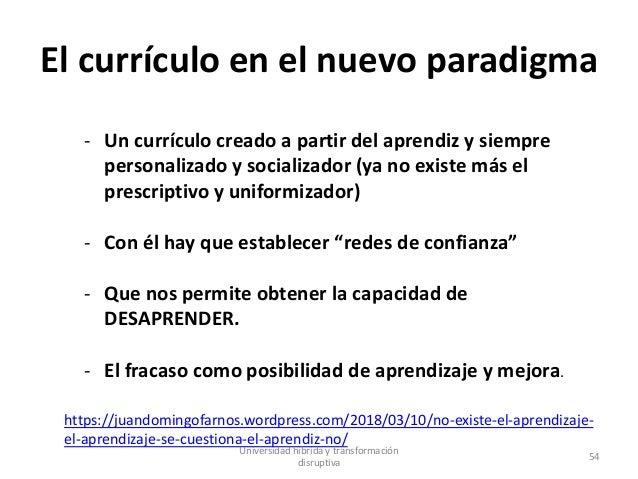 El currículo en el nuevo paradigma - Un currículo creado a partir del aprendiz y siempre personalizado y socializador (ya ...