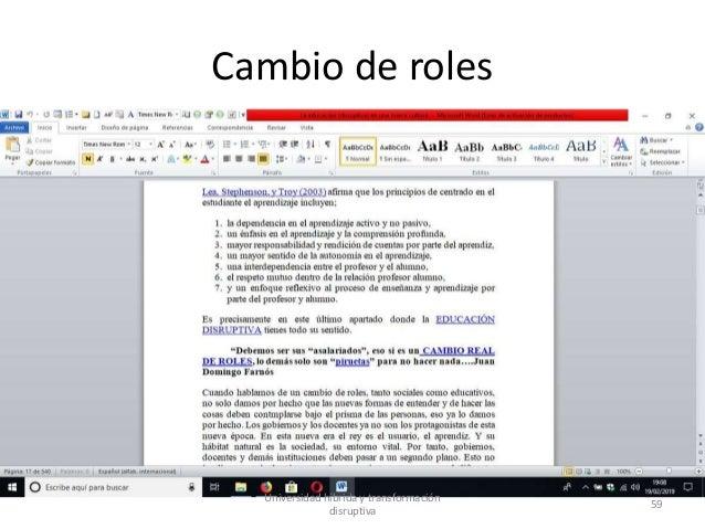 Cambio de roles Universidad híbrida y transformación disruptiva 59