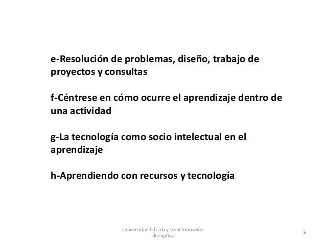 Universidad híbrida y transformación disruptiva 6 e-Resolución de problemas, diseño, trabajo de proyectos y consultas f-Cé...