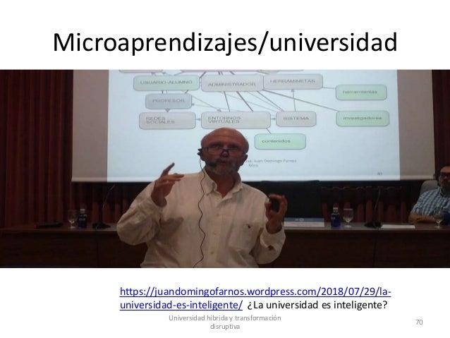 Microaprendizajes/universidad https://juandomingofarnos.wordpress.com/2018/07/29/la- universidad-es-inteligente/ ¿La unive...