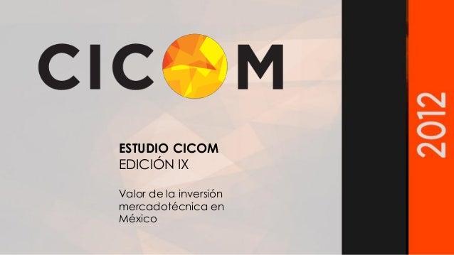 ESTUDIO CICOM EDICIÓN IX Valor de la inversión mercadotécnica en México