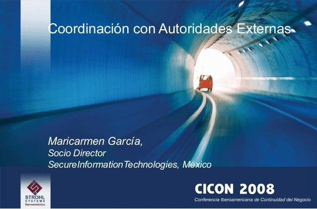 Coordinación con Autoridades Externas Maricarmen García, Socio Director SecureInformationTechnologies, México