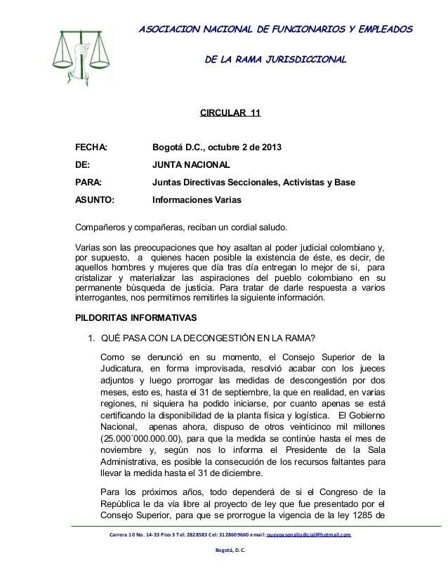 ASOCIACION NACIONAL DE FUNCIONARIOS Y EMPLEADOS DE LA RAMA JURISDICCIONAL  ASONAL JUDICIAL NACIONAL CIRCULAR 11  FECHA:  B...