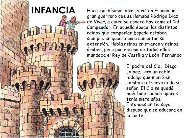 INFANCIA   Hace muchísimos años, vivió en España un            gran guerrero que se llamaba Rodrigo Díaz            de Viv...