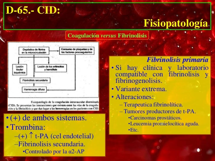 D-65.- CID:                                                  Fisiopatología                     Coagulación versus Fibrino...