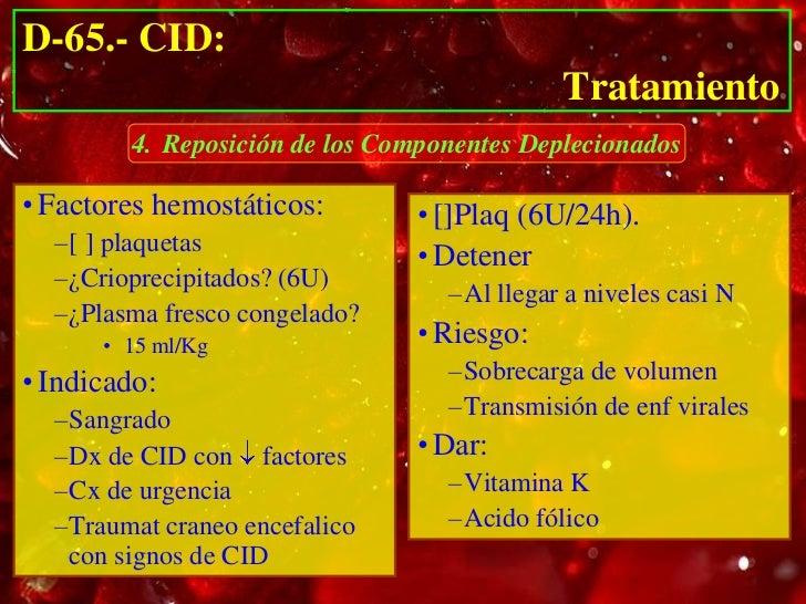 D-65.- CID:                                             Tratamiento             5. Soporte Vital de Órganos Afectados• Mon...